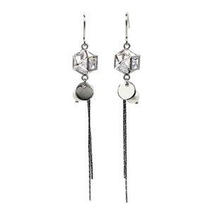Silver elegant crystal tassel earrings